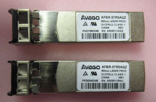 2 x Avago AFBR-57R5AQZ 4Gb Laser Prod Fibre Optic SW 850nm SFP Transceiver